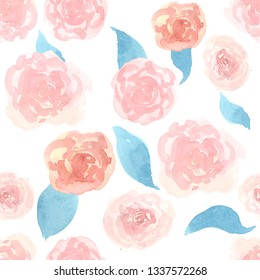 Watercolor pattern with rose blossoms on a white background. Simple vintage floral background. Ornament with painted pink flowers