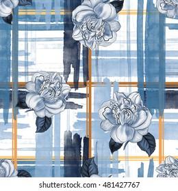 watercolor pattern rose blue , brush stripe plaid