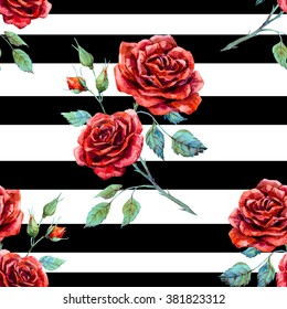 watercolor pattern rose red, striped seamless black pattern