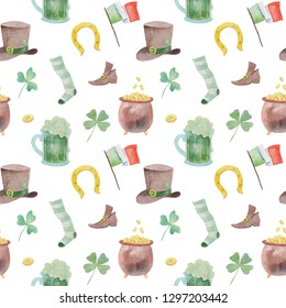Watercolor pattern for saint patricks day.  Different objects for design for 17 march.