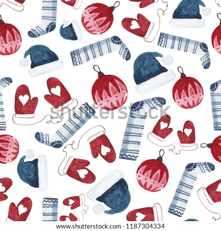 3d855a954ea Watercolor Pattern Santa Hat Christmas Ball Stock Illustration ...