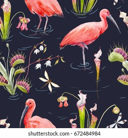 Watercolor pattern with Scarlet Ibis, Venus Fly Trap and  Sarracenia,   Carnivorous Plant. Wallpaper with water and flowers, dragonflies