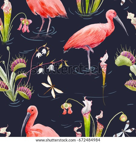Watercolor pattern with Scarlet Ibis, Venus Fly Trap and Sarracenia, Carnivorous Plant. Wallpaper