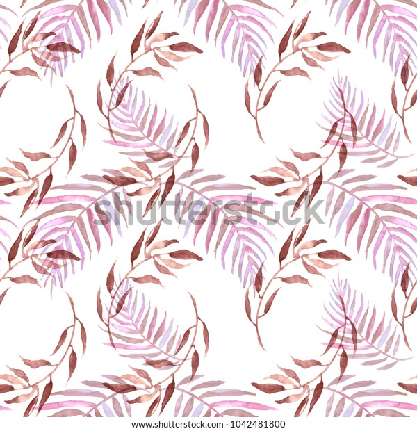 watercolor pattern, seamless background, card with an illustration - wild grasses, algae, twigs, pink, beard, brown branch, basil, sprout, plant. pink, beard, brown plants on a white background.