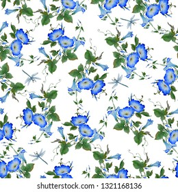 Watercolor pattern seamless with a flowering branch ipomoea. Beautiful blue flowers of morning glory, dragonflies are fly near. Hand drawn illustration. Wallpaper, fabric design, isolated on white bac
