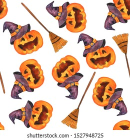 Watercolor pattern, seamless pattern. Happy Halloween holiday. Autumn pattern wrapping paper.Halloween elements, scary pumpkins in witch hats with witch's broom.