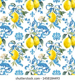 Watercolor pattern in Sicilian style, blue ornament, white flowers of lemon and flower