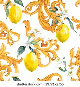 Watercolor pattern in Sicilian style, golden ornament, white flowers of lemon and fruit,