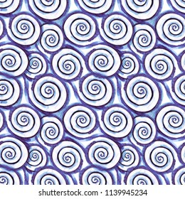 Watercolor pattern of spiral brush stroke. Water wave element . Swirl . Round Shape.