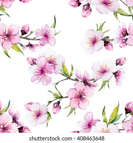 watercolor pattern spring, cherry blossoms, blossoming peach, delicate pink flowers, cherry tree