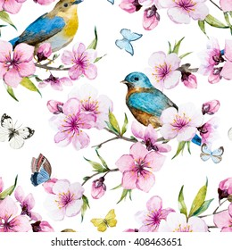 watercolor pattern spring, cherry blossoms, blossoming peach, delicate pink flowers, small birds, white background