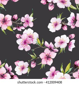 watercolor pattern spring, cherry blossoms, blossoming peach, delicate pink flowers, cherry tree,dark background, botany