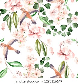 Watercolor pattern with spring flowers, eucalyptus leaves and birds. Illustration