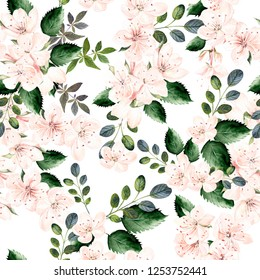 Watercolor pattern with spring flowers and green leaves.  Seamless pattern for fabric, paper and other printing and web projects. Illustration