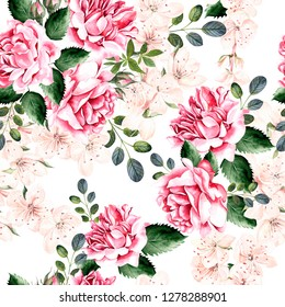 Watercolor pattern with spring flowers, roses and green leaves.  Seamless pattern for fabric, paper and other printing and web projects. Illustration