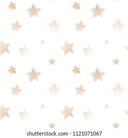 watercolor pattern. Star beige on a white background. Illustration for children's textiles, etc