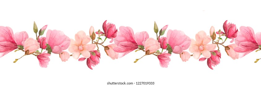 Watercolor pattern in stripe shape. Seamless texture of large flowers and blooming magnolia buds on a branch. Floral horizontal border. Repeated frame