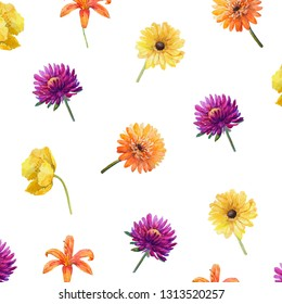 Watercolor pattern with summer flowers.Purple astra,yellow poppy and gerbera,orange lily.