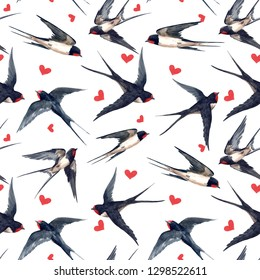 Watercolor pattern with swallows, red hearts. bird print .  valentines day pattern