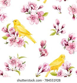 Watercolor pattern tree branches with Sakura flowers, cherry blossoms and young green leaves, set isolated objects. yellow bird the Canary