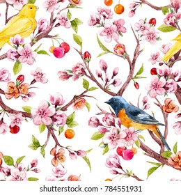 Watercolor pattern tree branches with Sakura flowers, cherry blossoms, cherries and young green leaves, set isolated objects. yellow bird the Canary. white pattern