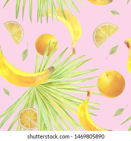 Watercolor pattern with tropical palm leaves and fruits. Seamless pattern