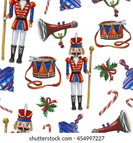 Watercolor pattern with vintage Christmas toys, Nutcracker,pipe, drum and quill  on white background.Hand painting kids pattern.