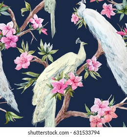 A watercolor pattern of white peacocks on a tree and pink azalea flowers. Pink tree rhododendron. Dark background