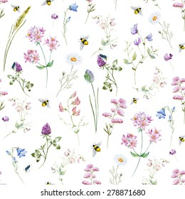 watercolor pattern with wild flowers
