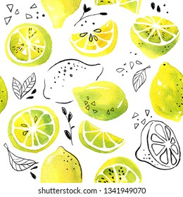 Watercolor pattern of yellow lemons and black graphic elements on a white background.