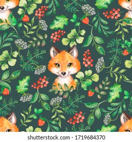 Watercolor patterns for forest animals, pattern with foxes.