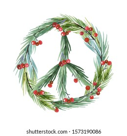 Watercolor Peace Symbol. Christmas Card Peaceful, joy, love, hope symbol, Ecology clipart, Eco New Year Watercolor Clip Art, christmas  wreath, Lettering