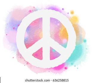 Watercolor peace symbol. Digital art painting.