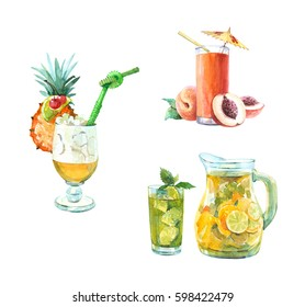 Watercolor peach ice cocktail, pineapple ice cocktail, Pitcher of lemonade, isolated on a white background illustration.