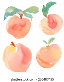 Watercolor Peaches On Isolated White Background