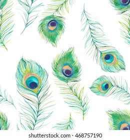 Watercolor peacock feathers seamless pattern. Hand drawn graphic exotic bird feather texture on white background. Artistic fashion wallpaper design