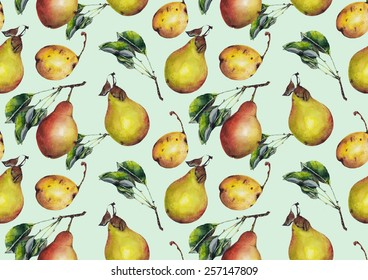 Watercolor pears pattern on a light blue background