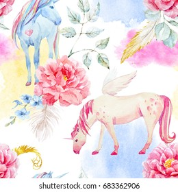 Watercolor pegasus pattern and unicorn, pink peony flowers and clouds