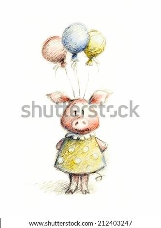 Watercolor Pencil Drawing Pig Balloons Stock Illustration 212403247