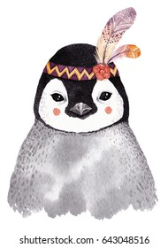 Watercolor penguin portrait, cute boho design with feathers. Nursery prints with animals , posters and postcards.