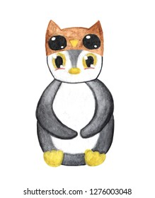 Watercolor penguin. Word penguin day. Animal in owl hat.Illustration for print, card, cup, tshirt. 20 January. 25 April