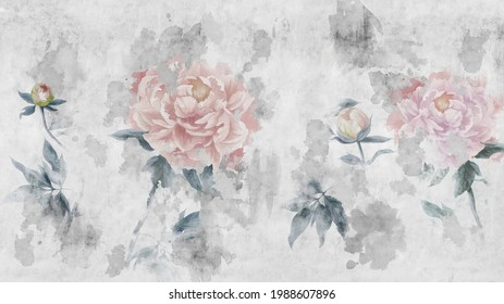 Watercolor peonies flowers painted on a concrete grunge wall. Photo wallpaper, wallpaper, mural, card, postcard design in the modern, loft style.