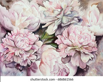 watercolor peonies illustration