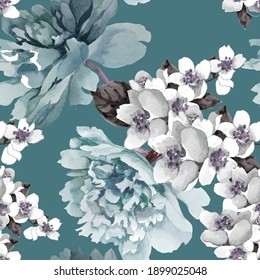 Watercolor peonies and jasmine flowers on turquoise grey seamless pattern.