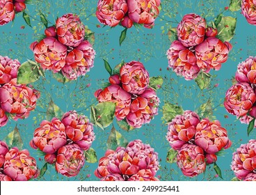 Watercolor peonies and roses on turquoise background pattern