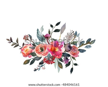 Watercolor Peony Floral Bouquet Pink Coral Stock Illustration