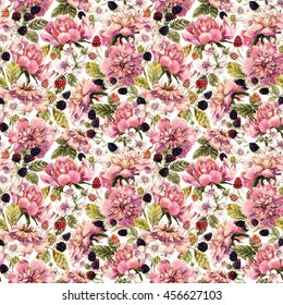 Watercolor peony flowers and blackberries, seamless pattern, retro wallpaper