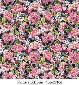 Watercolor peony flowers and blackberries, seamless pattern, retro wallpaper,black background