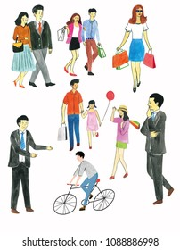watercolor people on white background. Colored hand sketch shopping, sweetheart, family, man, bike.