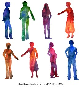watercolor people silhouettes, men and women clothing, painted in different colors, isolated design elements at white background